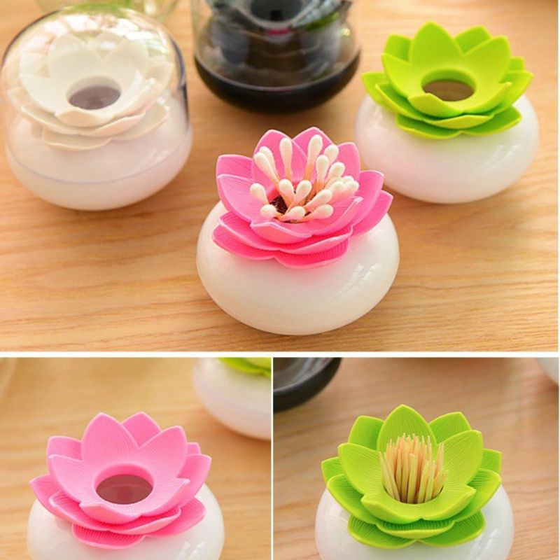 Cotton Swabs Stick Cosmetic Organizer Toothpick Holder Makeup Storage Box Portable Cotton  Container Tackle Lotus Box Storage