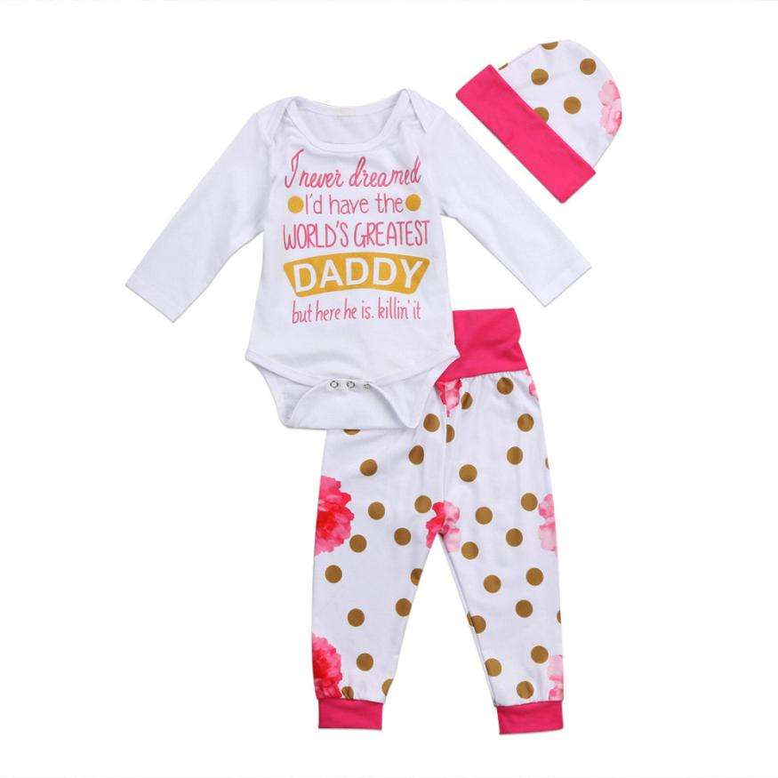Cute Newborn Infant Baby Girls Letter Romper Tops+Flowers Pants Cap Outfits Set l9222 puseky 2017 infant romper baby boys girls jumpsuit newborn bebe clothing hooded toddler baby clothes cute panda romper costumes