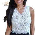 Rachelcoco 2016 Women Summer Sexy Lace Crop Tops Sleeveless O Neck Hollow Out Tops Fashion Women's All Match Tees Black/White