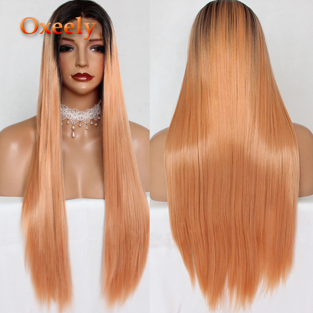 Oxeely Orange Straight Hair Synthetic Lace Front Wig Ombre Orange Long Straight  Wig Natural Hairline Glueless for Beauty Women a527c6988
