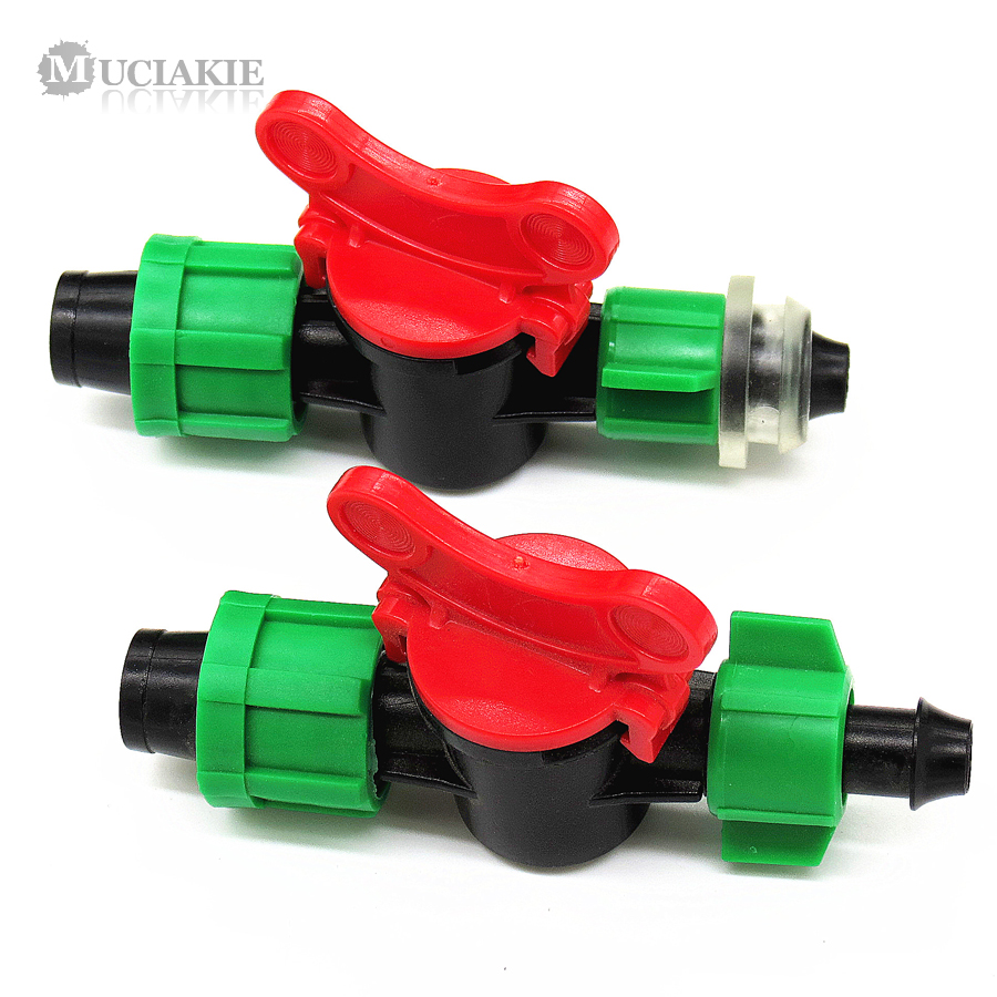 MUCIAKIE 5PCS DN16 Valve Switch Double Locks for Connecting Irrigation Drip Tape PE PVC Pipe Tube Barbed By-pass image