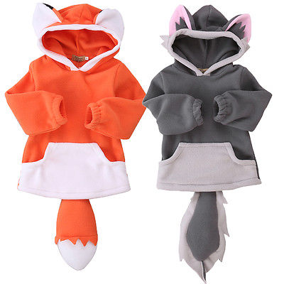Kids Boys Girls Warm Winter Hooded hoodies Fleece Coat Pullover FOX Tail Boys Clothes 0-4 T