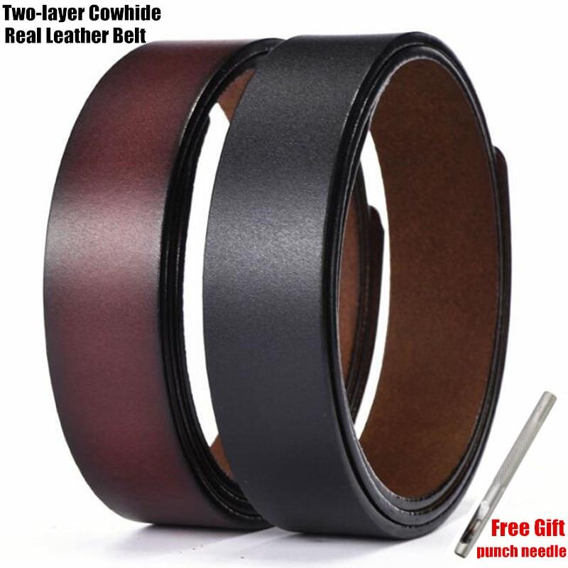 Cinturones de cuero genuino clásicos de 3,5 cm, 100% correas de cinturón de dos capas de piel de vaca, sin hebilla de cinturón, herramienta de perforación de regalo gratis