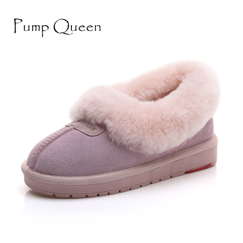 Winter Woman Shoes Plus Ankle Snow Boots Sewing Flat With Round Toe Low Shoes Solid Warm Comfortable Size 35-40 Apricot Purple