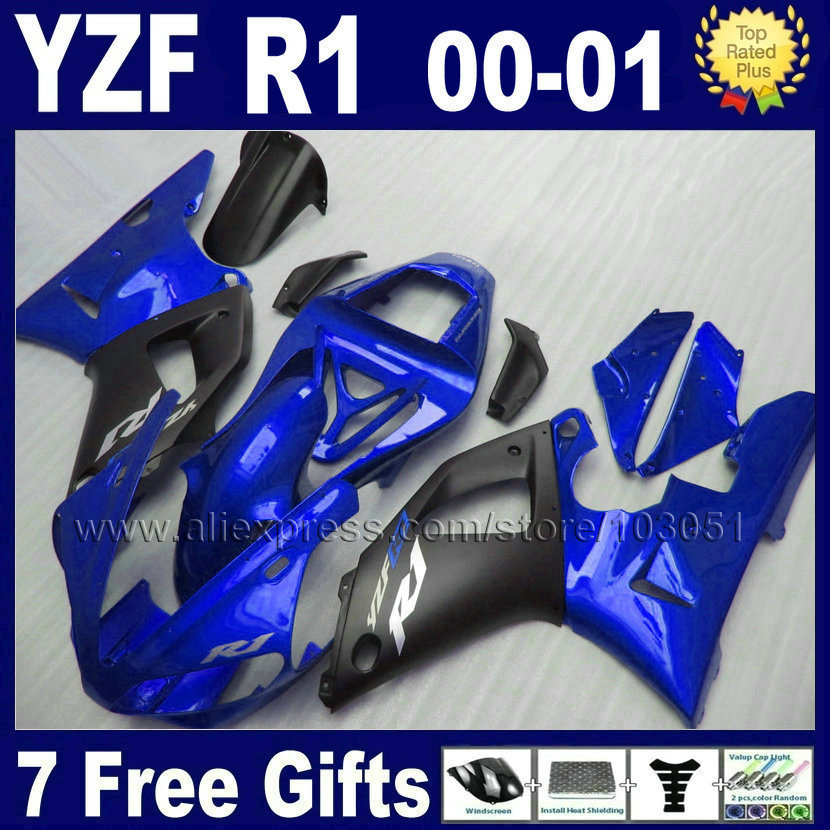 7gifts Custom fairing kits for 2000 2001 YAMAHA YZF R1 00 01 YZFR1 fairings YZF1000R matte black aftermarket body parts