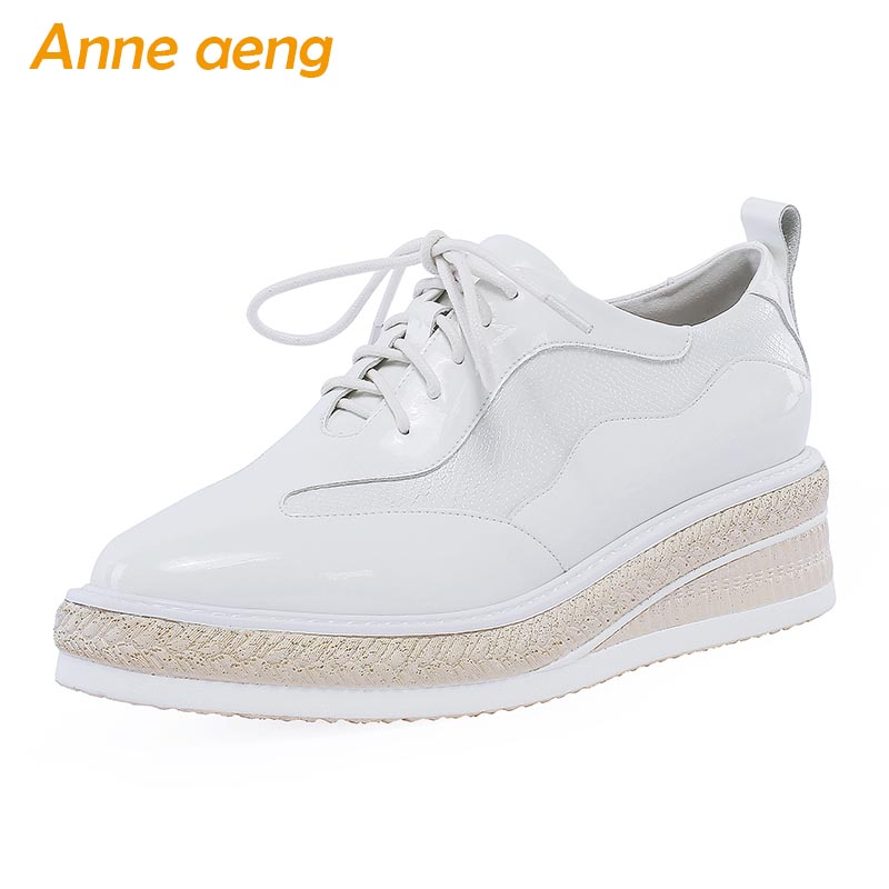 2019 Spring/Autumn Genuine Leather Women Pumps Middle Wedge Heel Lace-Up Fashion Casual Women Platform Shoes White Female Pumps