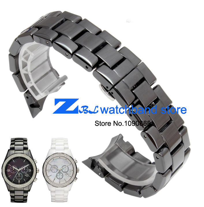 Ceramic watchband 18mm 22mm watch band for armani AR1400 AR1403  AR1401 AR1404  AR1443 AR1410 AR1475 AR1476 AR1443 watch strap