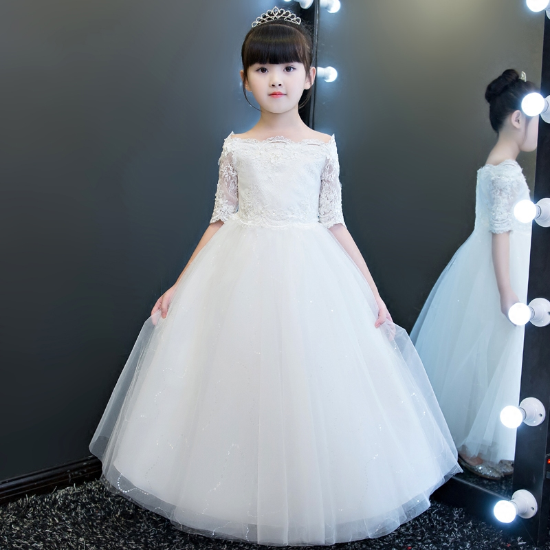 Children Girls Elegant Beautiful Red White Color Lace Princess Birthday Wedding Party Dress Kids fashion Shoulderless Long Dress 2017 new high quality girls children white color princess dress kids baby birthday wedding party lace dress with bow knot design