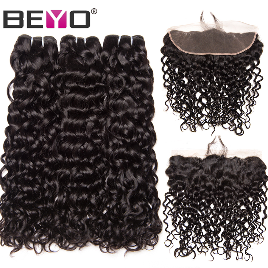 Brazilian Water Wave Bundles With Frontal Closure Human Hair 3 Bundles With Closure 13X4 Frontal With