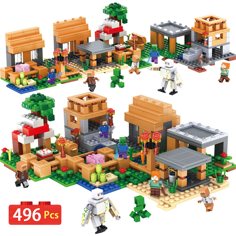New My World Village Compatible Legoingly Minecrafted Building Blocks Steve Figures DIY Bricks Educational Toys For Children 400 pcs micro my world building blocks diy nether bricks blocks enlightentoys for kids compatible legoingly minecraft village