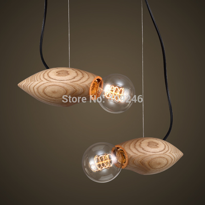 Vintage Solid Wood Ball Ceiling Lamp Penant Droplight For Dinning Room Cafe Bar