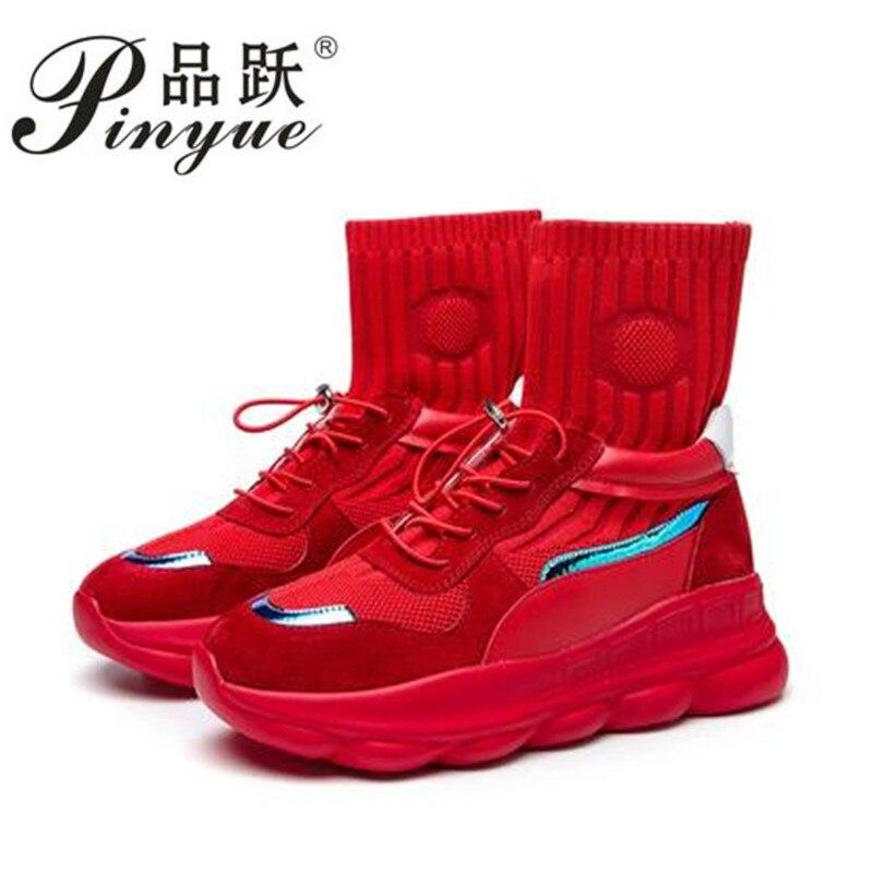 Haute qualité chaussures femmes d'été tenis feminino chaussette casual sneakers femmes Unisexe Marques maille chaussures femme plat plate-forme chaussures