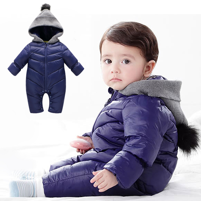 Winter Baby Rompers Enhanced jumpsuit Solid Color Hooded Keep Warm duck down Boys Girls Jumpsuit High Quality Baby Clothes 0-18M winter down jacket boys coat for baby girls clothes children warm outwear cute solid color high quality clothing hooded snowwear