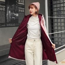 Winter Vest Women 2020 Long Coat Slim Cotton Padded Pink Big Pockets Sleevless Velvet Stand collar Jacket Female Waistcoats
