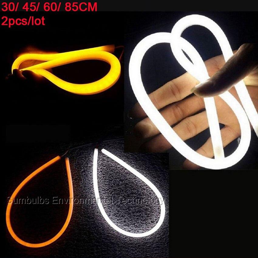 2PCS DC12V 30cm 45cm 60cm 85cm Flexible Car Head Lamp DRL LED Daytime Running Light Strip Soft Tube Car Headlight Signal Light