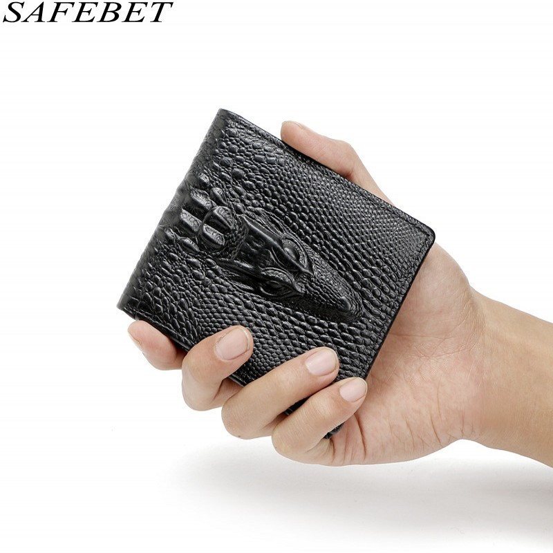 SAFEBET Brand Fashion Luxury Mini Crocodile Pattern Men Genuine Leather Wallet Short Personality Wallet Multi-card bit Wallet