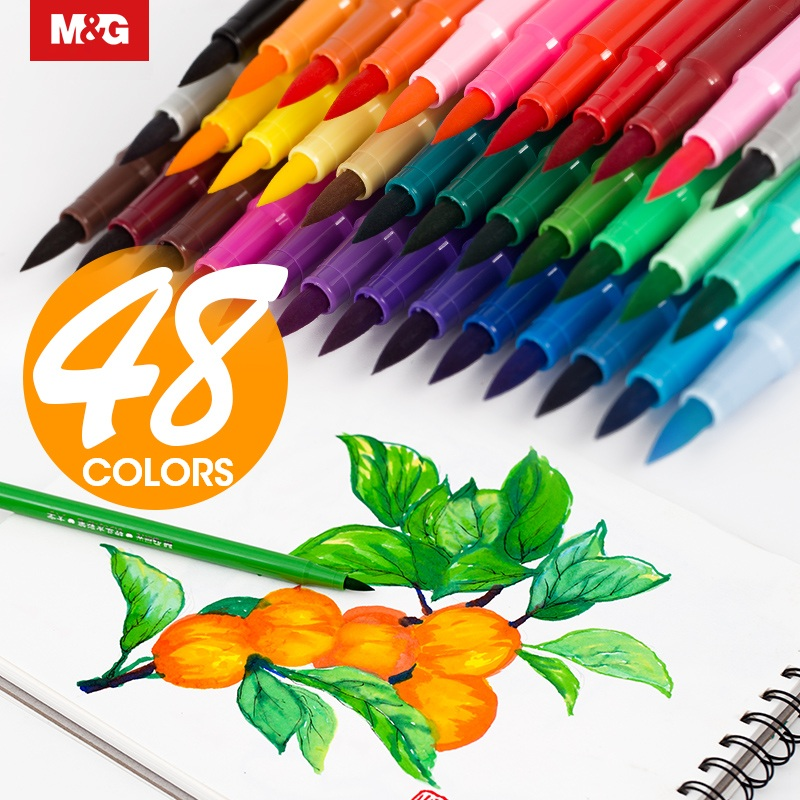 M&G 12/24/36/48 Colors Watercolor Brush Pen,Art Markers Painting Supplies Water Color Promarker Drawing Set Stationery Painting