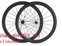 Free Shipping Carbon Wheels 50mm Wheels NOVATEC Width 25mm Carbon Clincher Tubular 700C Road Bike Wheels