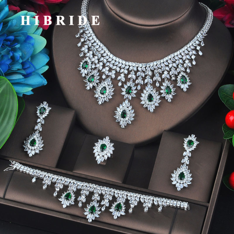 HIBRIDE New Brilliant Green Big Cubic Zircon Jewelry Sets For Women Bridal Wedding Accessories Fashion Jewelry