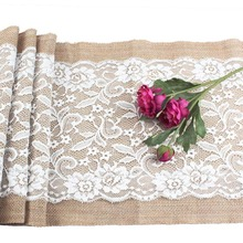 OurWarm 108x30cm Burlap Lace Table Runners White Lace Edges Jute Imitated Linen Rustic Wedding Party Table Decoration