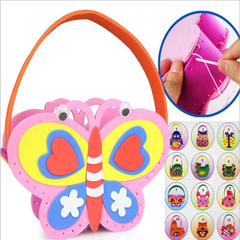 Cartoon DIY Handmade Bags Craft Material Children Creative Ability Development Toy Party Gift