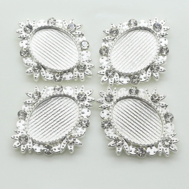 Hot sale 10Pcs lot Silver rhinestone buttons Negative film DIY Metal buttons  craft rhinestone buttons 966e9e828b35