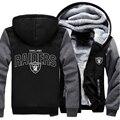 США размер Raiders Футболу Мужчины Женщины Сгущает Руно Молнии С Капюшоном Куртки Clothing Casual Пальто