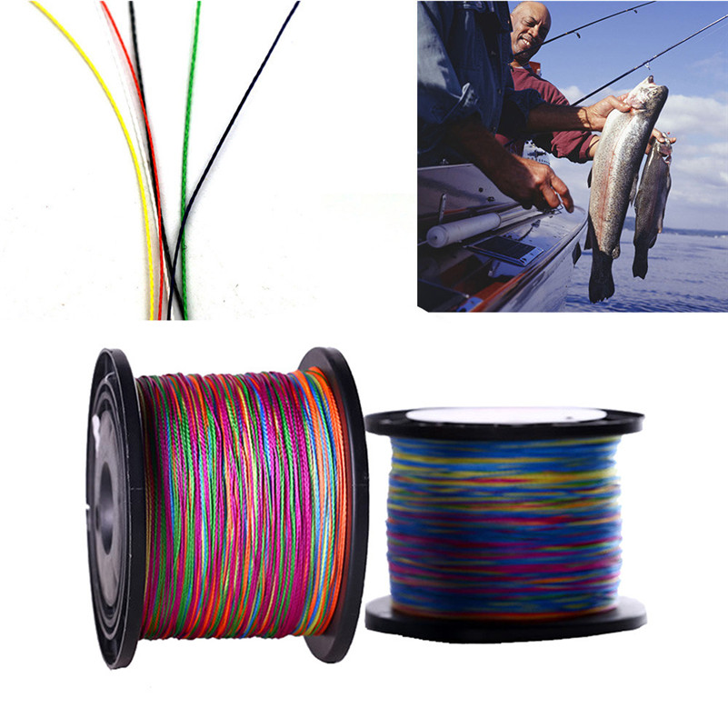 500m Color mulifilament PE Braided fishing line 4 strands braided wires tackle hooks outdoor camping fishing accessories gear