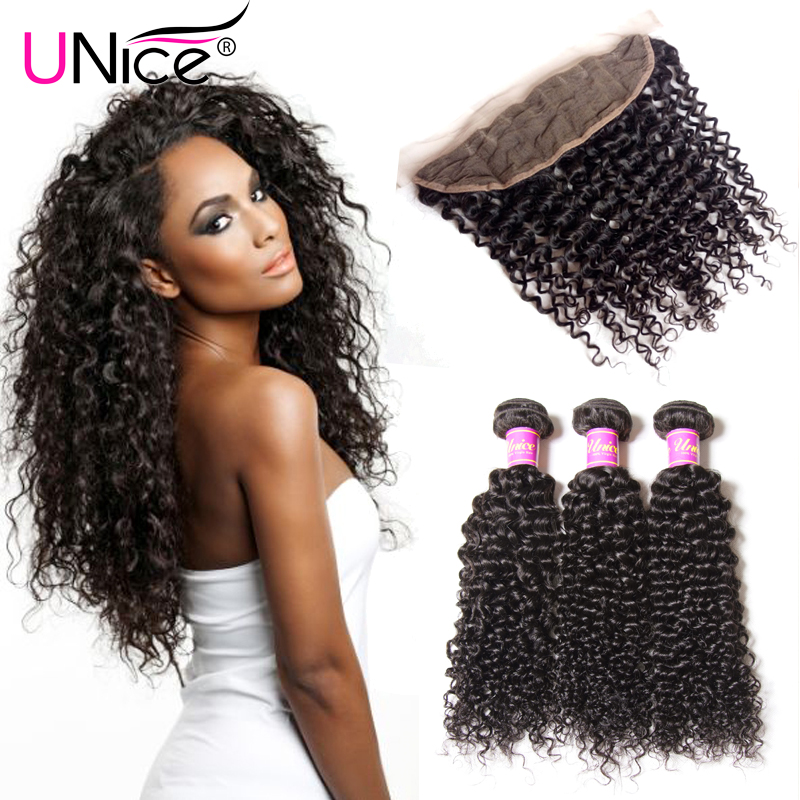 UNice Malaysian Curly Hair 3 Bundles With Frontal 13x4