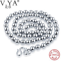 V Ya 100 Real Pure 925 Sterling Silver Men Necklace Luxury Brand Thick Chain Thai Silver