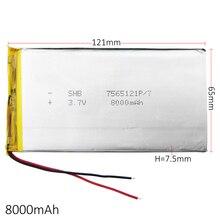 3.7 V 8000 mAh Lityum Polimer LiPo şarj edilebilir pil hücreleri PED E kitap GPS PSP DVD Güç banka Tablet PC Dizüstü Bilgisayar 7565121