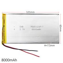 3.7 V 8000 mAh bateria De Polímero De Lítio LiPo células de Bateria Recarregável Para PAD E Book GPS PSP DVD Power banco Tablet PC Laptop 7565121
