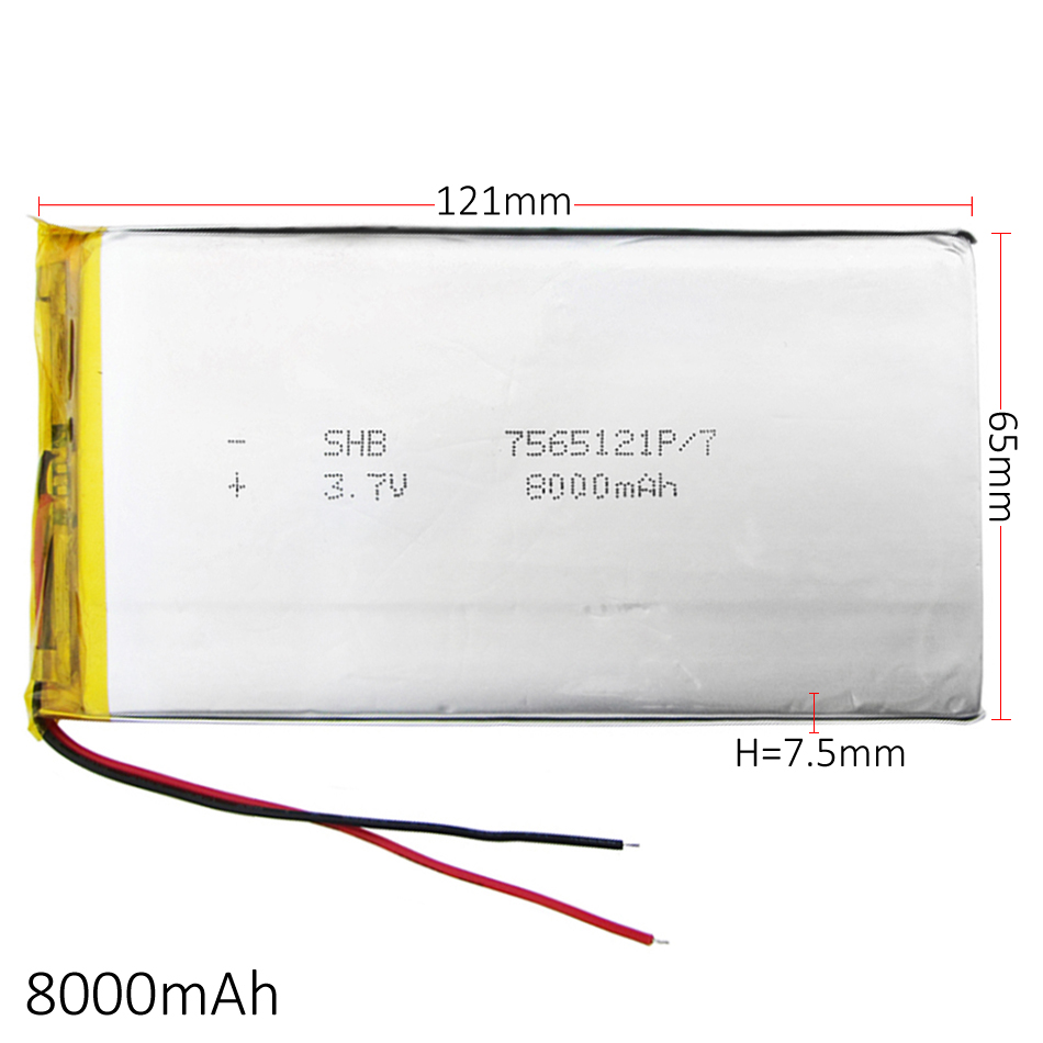 3.7V <font><b>8000mAh</b></font> Lithium Polymer LiPo Rechargeable <font><b>Battery</b></font> cells For PAD E-Book GPS PSP DVD Power bank <font><b>Tablet</b></font> PC Laptop 7565121 image