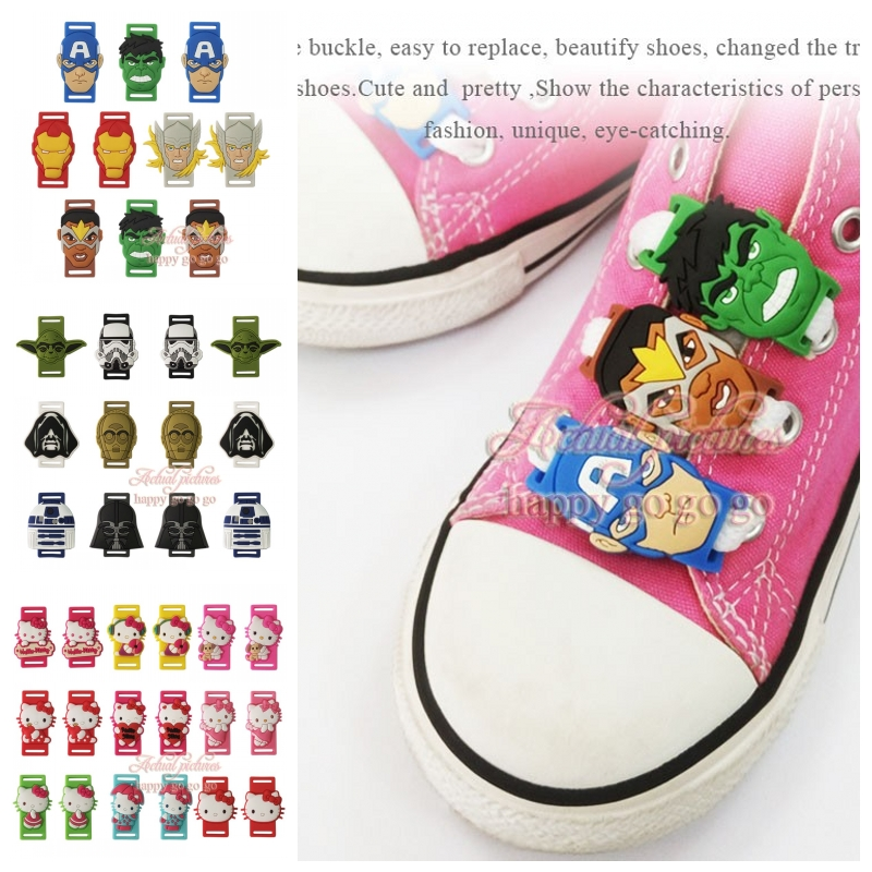 Wholesale 500pcs/lot Hello Kitty Star War The Avengers Shoe Buckles Accessories Shoe Lace Abrasion shoelace shoe decoration rollercoasters the war of the worlds