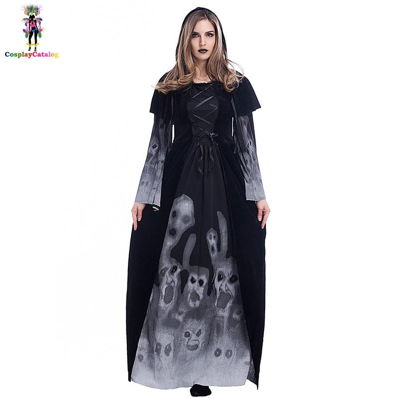 Black Halloween Adult Scary Skeleton Long Dresses For Women,Female Skeleton Printed Vampire Costume Size SMLXL