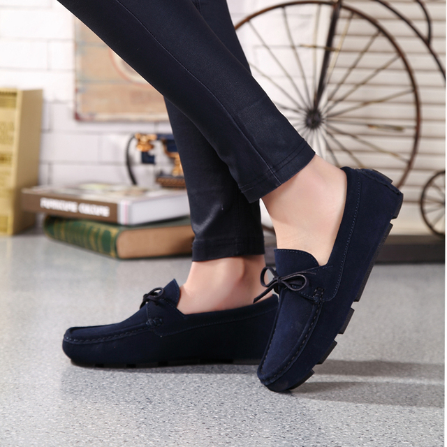 31d8cf8400 Ngouxm Men Loafers Moccasin hombre Casual Suede Leather Shoes Navy Blue  Slip On Shoes Moccasins For Man homme chaussure