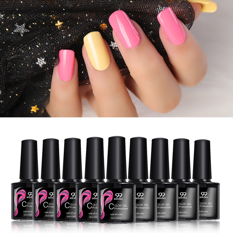 Gel nail polish UV nail gel Manicure UV led color gel polish soak off  nail gel varnish  No Wipe Top coat and base coat MSHING99(China)