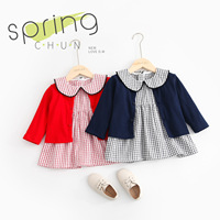 Hot Sale Cute Baby Girls Set 2019 New Arrive Peter Pan Plaid Dresses For Kids Girls and Children Girls Cardigan Jackek Newborn