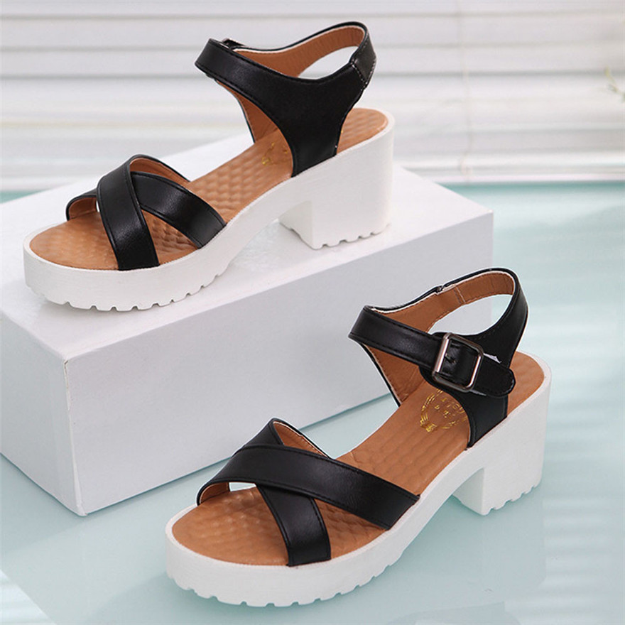 Summer Rough Sandals Woman Fashion New Open Toe Fish Mouth High Heel Outdoor Platform Shoes Sandalias Mujer 2018 zapatos mujer