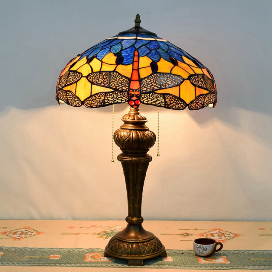Hot Sale European Style Tiffany Dragonfly Decorated Table Lamp Bar  Mediterranean Garden Table Lamp