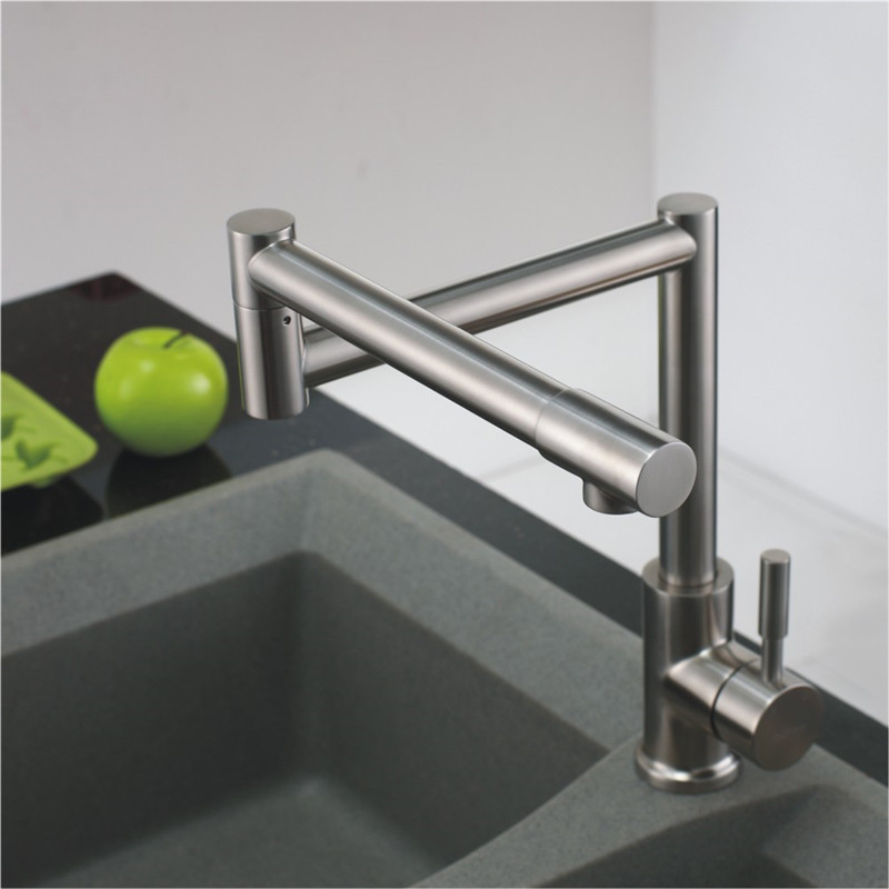 Купить с кэшбэком Lead -Free 360 Rotation Single Handle Hot Cold Mixer Tap Brushed Kitchen Sink Faucet SUS304 Stainless Steel Kitchen Faucet