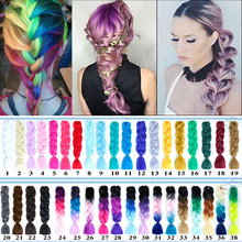 AOOSOO Synthetic kanekalon Hair Extensions Ombre Braiding Hair One Piece 100g/Pack 24Inch Afro Bulk Hair Jumbo Crotchet Braid(China)