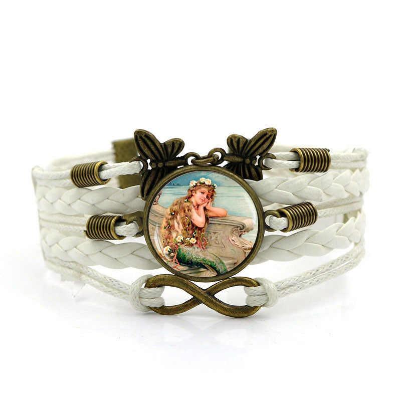 2018 Новинка русалка легенда DIY Браслеты для женщин мужчин Винтаж бабочка многослойная композитная браслеты и ювелирные изделия