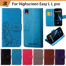 Embossing Flower Pattern For Highscreen Easy L L pro Wholesale Custom 100% Luxury PU Leather Flip Case Cover with strap