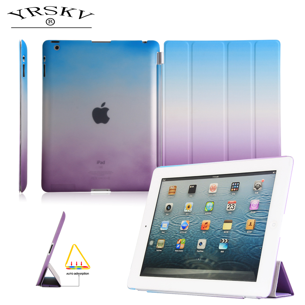 Case for iPad 2 iPad 3 iPad 4 YRSKV Separate PU Leather Slim Magnetic Smart Auto Sleep Wake Cover Skin+Hard PC Back Case for new ipad 9 7 case 2017 release smart wake up sleep pu leather with pc back cover rainbow gradient 3 fold magnetic stand