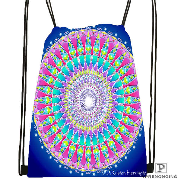 Custom mandala El Laberinto de Rosa 3 Drawstring Backpack Bag Cute Daypack Kids Satchel Black Back