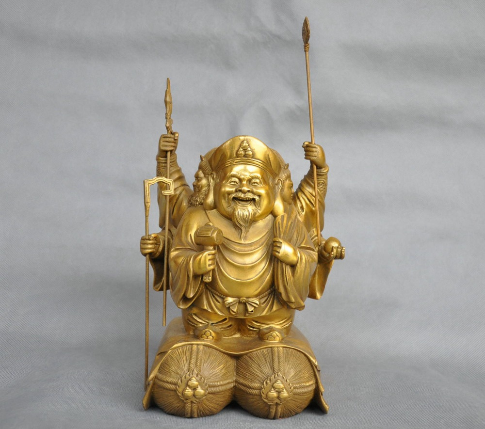 9 ''Китай чистая бронза 3 головы 6 рук Махакалы Будда Маммоне Бронзовая статуя Будды