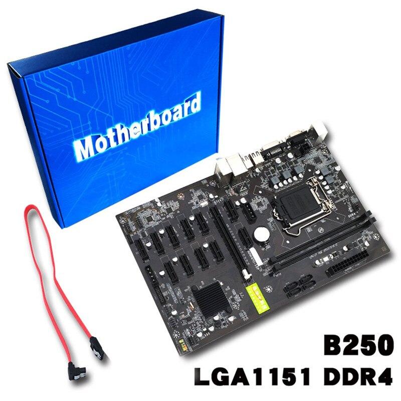 Desktop Computer Motherboard Mining Board B250 Expert Motherboard Mainboard Video Card Interface Supports GTX1050TI 1060TI