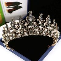 Барокко Черный Кристалл женские украшения для волос горный хрусталь винтажные тиары и короны ручной работы королева принцесса свадебные у...