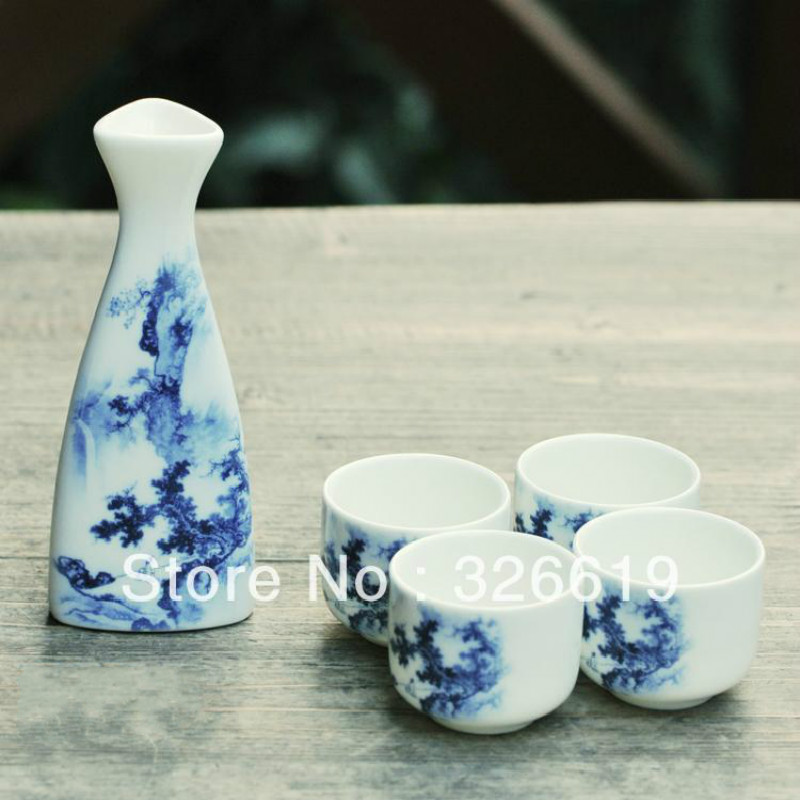Bar Set Ceramic blue and white ink Japanese style sake wine glass hip flask small handless winecup wine bar set image